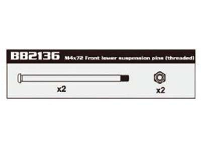 BB2136 4MM Front Lower Suspension Pins (Long)